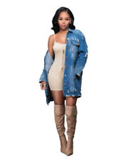 Cowboy Jeans Coat Womens Ripped Loose Blue Long Denim Jackets