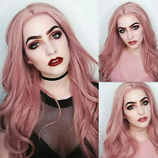 Synthetic Hair Lace Front Wig Fashion Long Wavy Pink Full Wigs For Women Soft