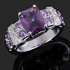 Women's Jewelry Pure Purple Amethyst 18K Gold Filled Wedding Ring Gift Size 6-10