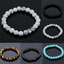 Men Women Tiger Eye Turquoise Beads Elastic Natural Stone Agate Bracelet Jewelry