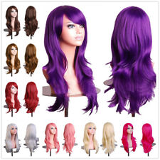 Purple Wig Halloween Long Wave Hair Cosplay Costume Synthetic Full Head Hair Wig