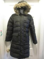 LANDS' END Womens BROWN GOOSE DOWN Fill FUR Trim HOOD Puffer COAT Jacket Small