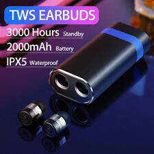 TWS Wireless Bluetooth Stereo Earphones Sport Headset Earbuds Waterproof 2000mAh