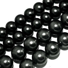 GLASS PEARLS JEWELRY BEADS BLACK COLOR 4MM 6MM 8MM FAUX PEARL BEAD STRAND GP23