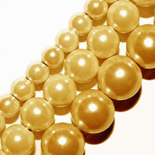 GLASS PEARLS JEWELRY BEADS LIGHT GOLD 4MM 6MM 8MM FAUX PEARL BEAD STRAND GP19