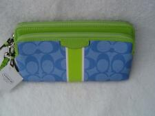 NEW AUTHENTIC COACH BLUE SIGNATURE STRIPE PVC DOUBLE ZIP WALLET #51266