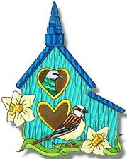 BIRD HOUSES WITH STIPPLE DESIGNS 20 MACHINE EMBROIDERY DESIGNS CD or USB