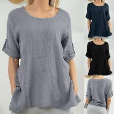 Women Casual Solid Blouses Crew Neck Roll Up The Sleeve Shirt Loose Splice Tops