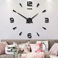 Mintime Frameless Large 3D DIY Wall Clock Mirror Stickers Home Black-015