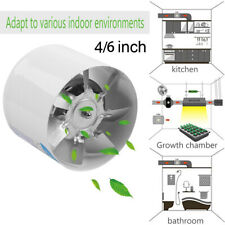 """4/6"""" Inline Ducting Fan Booster Air Cooling Filter Vent Exhaust Blower Fan White"""