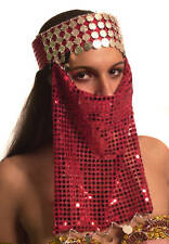 Belly Dance Costume Tiara with Face Veil Headband Coins