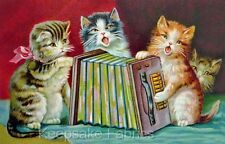 Vintage Cats & Accordian Fabric Applique Multi Sizes