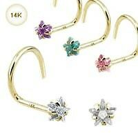 14KT Solid Gold Nose Screw Ring Stud 3mm CZ Star 20G