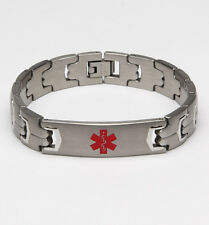 Medical Alert ID Brushed Stainless Steel Link Bracelet - DIABETES or CUSTOMIZE