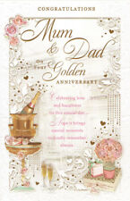 mum and dad golden wedding anniversary card cute traditional 50th 9X6 / 7.5x5.5