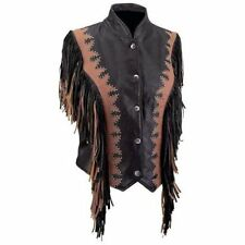 Ladies' Solid Leather Motorcycle Vest, Fringe, New