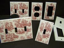 RED AND WHITE TOILE   LIGHT SWITCH COVER PLATE OR OUTLET COVER