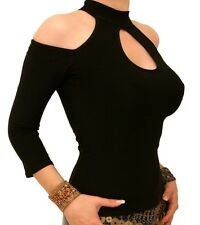 New Sexy Cut Out Choker Top - Three Quarter Sleeves