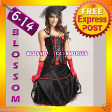 066R Ladies Red Burlesque Saloon Can Can Moulin Rouge Corset Skirt Costume
