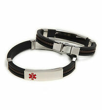 Medical ID Rubber/Stainless Bracelet~Diabetes-Coumadin-Blank-Custom Engrave