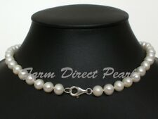"AAA 16"" 18"" Inch Genuine 8-9mm White Pearl Necklace SILVER Cultured Freshwater"