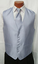 Mens Light Carolina Blue Herringbone Fullback Vest & Matching Tie Wedding Prom
