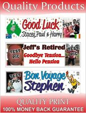 PARTY BANNER RETIREMENT PERSONALISED & PHOTOS GOING AWAY LEAVING DO BON VOYAGE