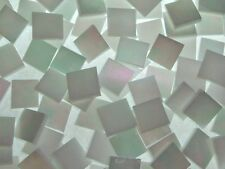 WHITE OPAL IRIDESCENT handcut stained glass mosaic tiles #425