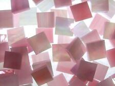 PINK & WHITE WISPY IRIDESCENT handcut stained glass mosaic tiles #415