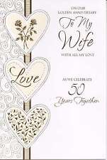 to / for my wife on our golden wedding anniversary traditional card 50th