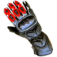 Trendy New Cowhide Leather Heavy Duty Motorcycle Gloves Motorbike Red Collection