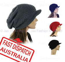 1 Knit Unisex Ladies Men Baggy Rasta Beanie Hat Cap Ribbed with Brim Visor Peak