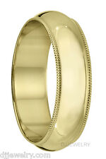 14K Yellow Gold Wedding Band Ring 6mm S10-10.75 Milgrain 1mm Thick Engraved Free