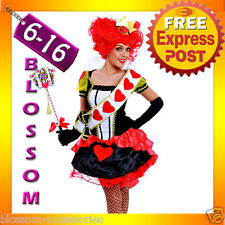 F90 Queen of Hearts Alice In Wonderland Ladies Fancy Dress Costume Outfit +Crown