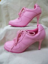 Cute Funky Solid Pink Tennis Shoe Lace Up Heels Hippie Go Go Valley Girl Mod NEW