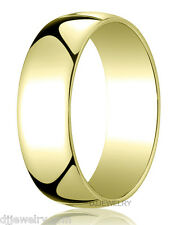 8mm 10K Yellow Gold SZ12-12.75 Round Wedding Band Ring 1mm Thick Free Engraving