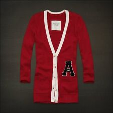 NWT Abercrombie A&F V-Neck Cardigan Sweater S M Women's Top Logo Long Red NEW
