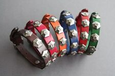 "NEW Leather Metal Studs Buckle Bracelet Wristband Vintage Cuff Bangle 6.5""-8.5"""