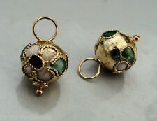 10mm Gold Cloisonne INTERCHANGEABLE Earring Charms YG or SS