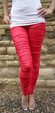 Rats style Ruched Wet Look Leggings  Red