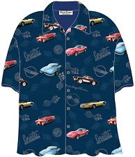 Corvette Cars Blue Hawaiian Camp Shirt by David Carey