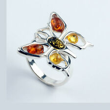 BUTTERFLY RING MULTI COLOURED BALTIC AMBER STERLING SILVER BUTTERFLY RING