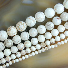 "White Turquoise Round Beads 15.5"" 4 6 8 10 12mm Pick Size"