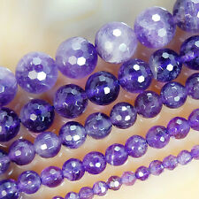 "Natural Faceted Amethyst Gemstone Round Beads 15"" 4 6 8 10 12mm Pick Size"