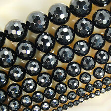 Faceted Black Agate Round Gemstone  Beads 15 4 6 8 10 12 14 16mm Pick Size