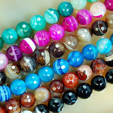 "4mm 6mm 8mm Faceted Striated Agate Round Beads 15"" Pick Color"