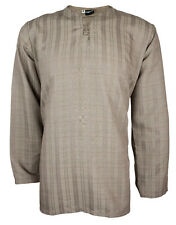 Mens Indian Long Sleeve Kurta Top-Shirt Brown MK6697 Various Sizes