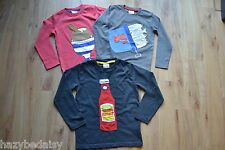 Mini Boden boys cotton long sleeve applique logo top t-shirt age 2-12