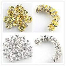 Wholesale ! New gold/silver rondelle rhinestone crystal spacer bead A+ 50pcs