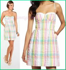 $188 Lilly Pulitzer Multi Summer Plaid Seersucker Georgie Bustier Style Dress
